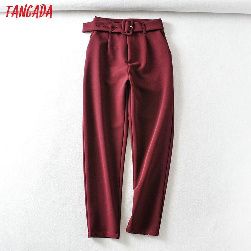 Tangada Fashion Women Wine Red Suit Pants Trousers With Slash Pockets Buttons Office Lady Pants Pantalon 6A341