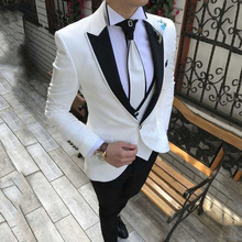 Men Suit Costume Groom Wear Wedding-Tuxedo Slim-Fit Party White 3-Pieces Casual Masculino