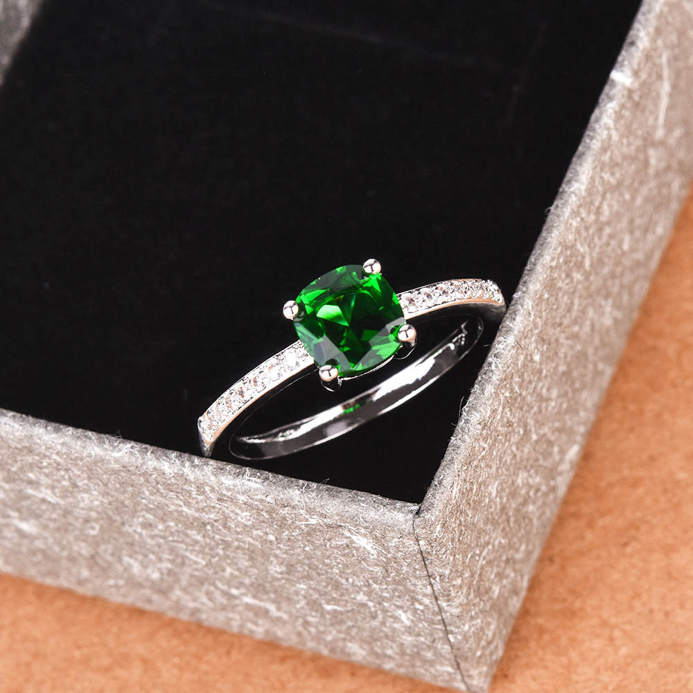 Natural Emerald Rings For Women Sterling Silver Color 925 Jewelry Ring Wedding Engagement Party Gemstone Fine Jewelry Gift