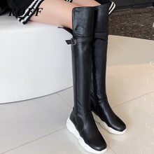 Women Over-the-knee Boots 2019 Winter New Pu Leather Round Toe Buckle Zip Shoes Women Big Size 46 Black White Ladies High Boots(China)
