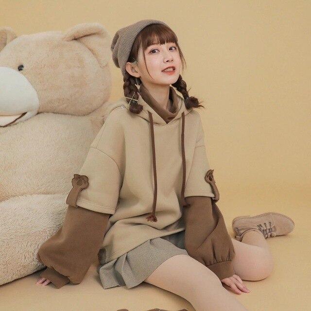 HOUZHOU Kawaii Cute Oversized Hoodie Harajuku Plus Size Pullovers Korean Fashion Long Sleeve Streetwear Women Aesthetic Coat 3