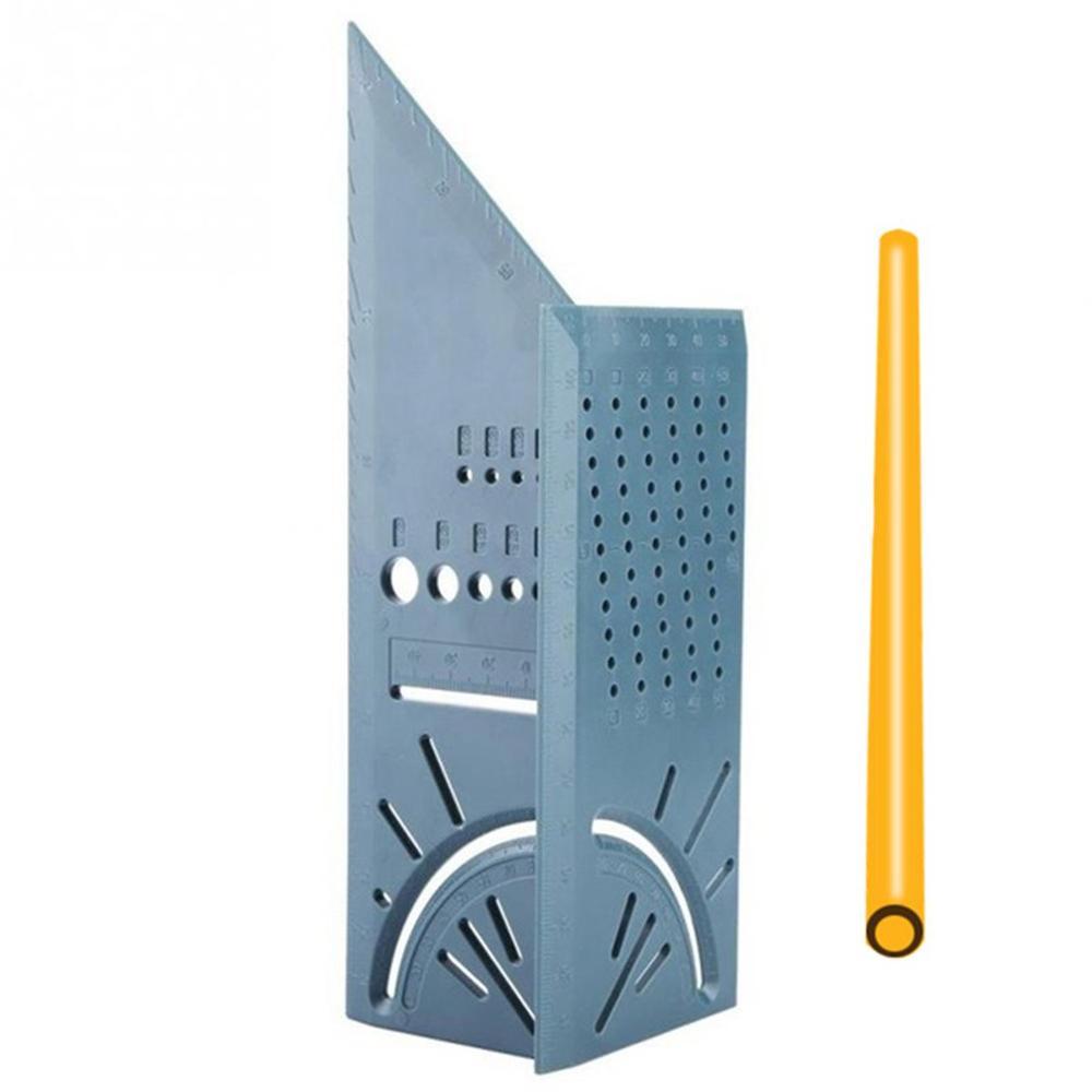 45/90 Degree Square Measure Tool Angles Measure Ruler pen Woodworking Gauge Ruler 3D Mitre Angle Measuring Tool Ruler