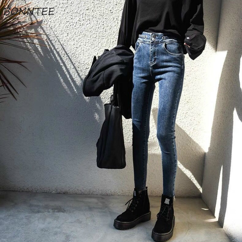 Pencil Jeans Women Skinny Plus Velvet High Waist Pockets All-match Harajuku Womens Trousers Daily Casual Fashion Streetwear New