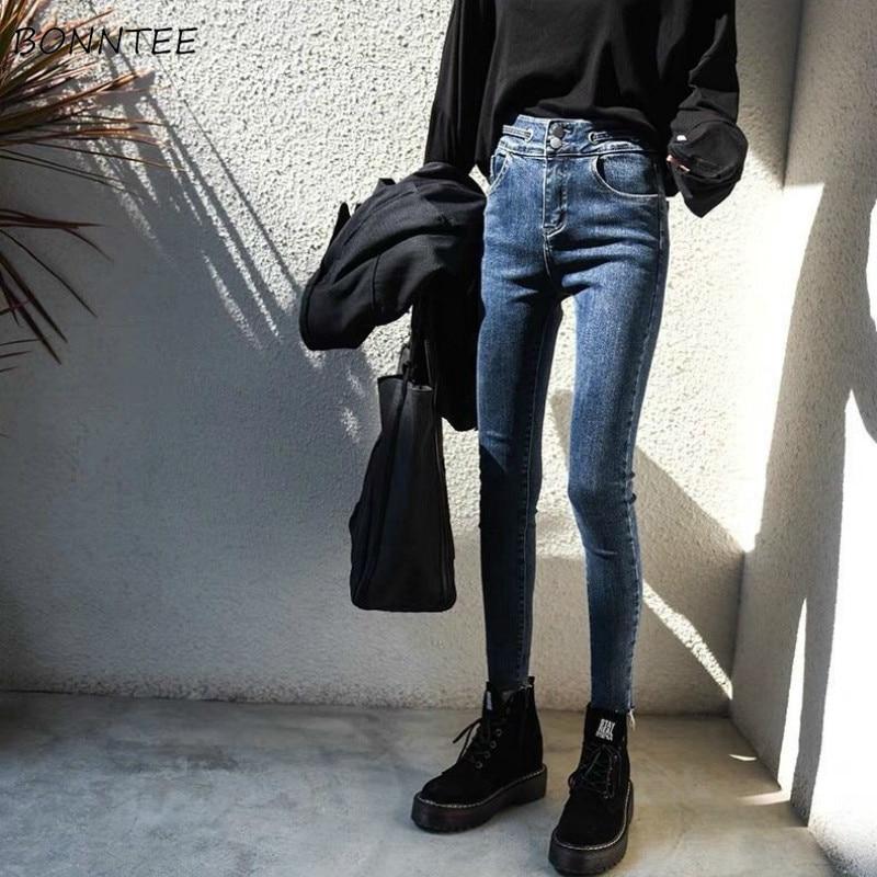 Pencil Jeans Women Skinny Plus Velvet High Waist Pockets All-match Harajuku Womens Trousers Daily Casual Fashion Streetwear New
