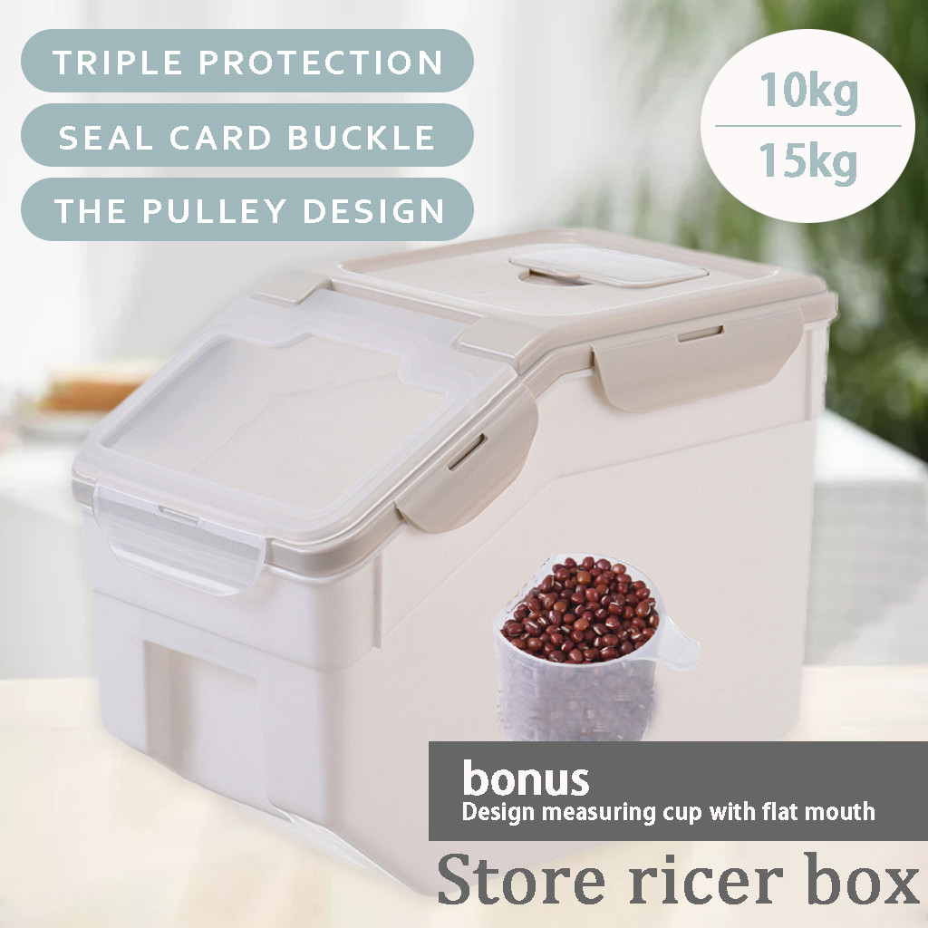 Plastic Sealed Moisture-proof Storage Box Kitchen Rice <font><b>Container</b></font> Large Size Plastic Household Grain <font><b>Containers</b></font> Flip Cover d3 image