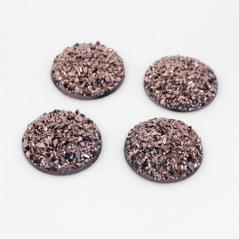 New Fashion 10pcs 20mm Rose Gold Colors Natural Ore Style Flat Back Resin Cabochons For Bracelet Earrings Accessories-T4-03