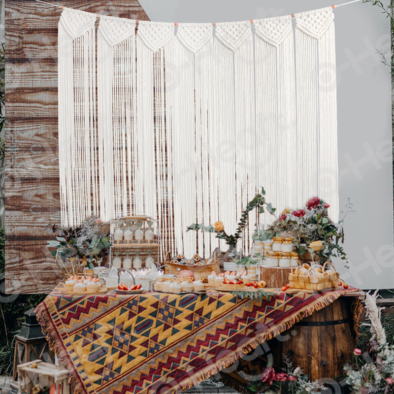 OHEART Wedding Decoration Tapestry Boho Woven Macrame Wall Hanging Large Beautiful Apartment Dorm Room