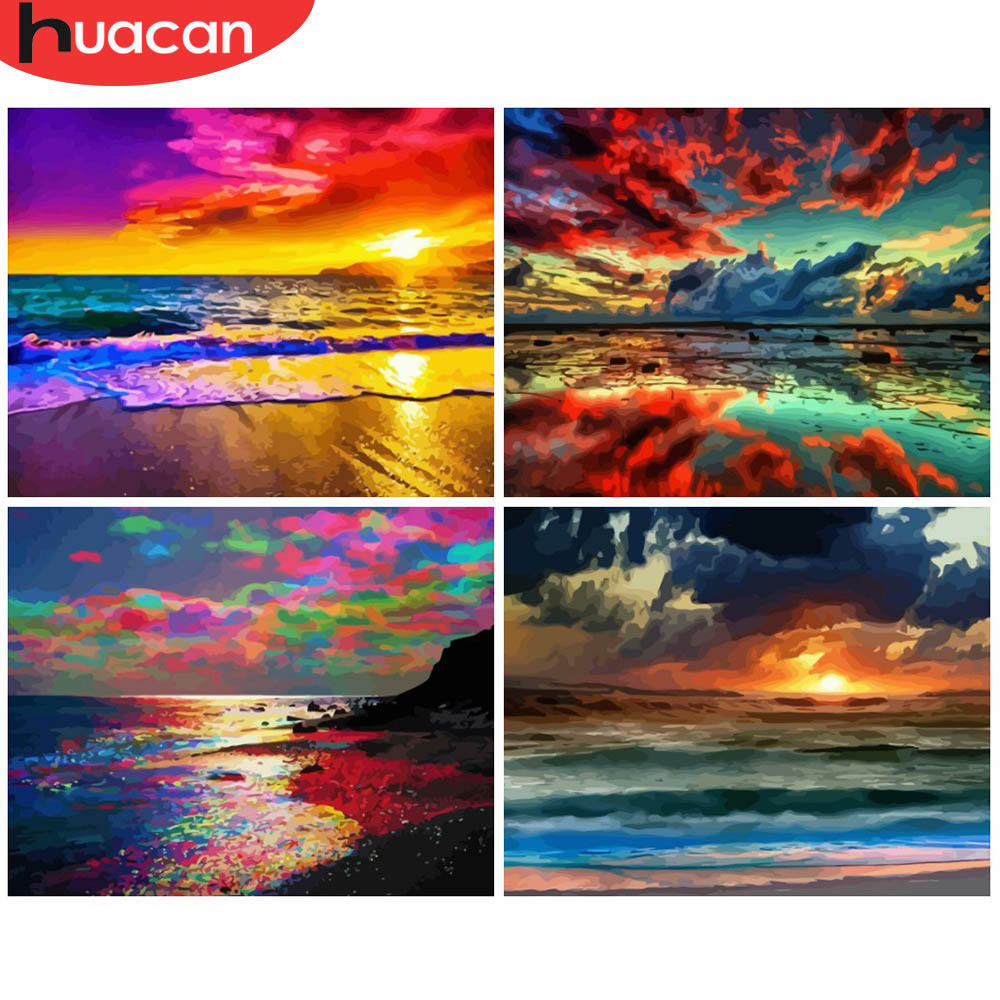 HUACAN Painting By Numbers Sunset Scenery Acrylic Drawing Canvas Picture Sea Full Set For Adults Home Decoration Gift