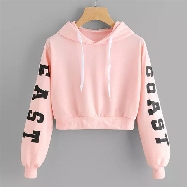 Women s Fashion Sweatshirt Womens Letters Long Sleeve Hoodie Sweatshirt Pullover Tops Dropshipping Cropped Size XS-XL