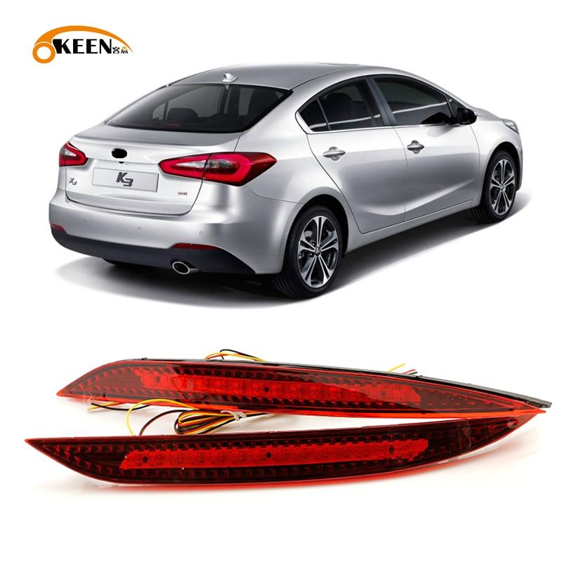 2PCS Car Red Len Led Rear Bumper Reflector For Kia K3 Cerato Forte 2012 2013 2014 LED Stop Brake Light Tail Fog Parking Lamp
