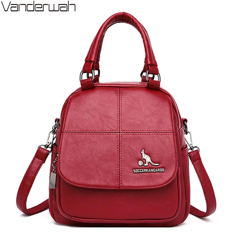 Multifunction Women Soft PU Leather Small Backpack School Bags For Teenager Girls Simple Ladies Shoulder Bag Mochila Feminina