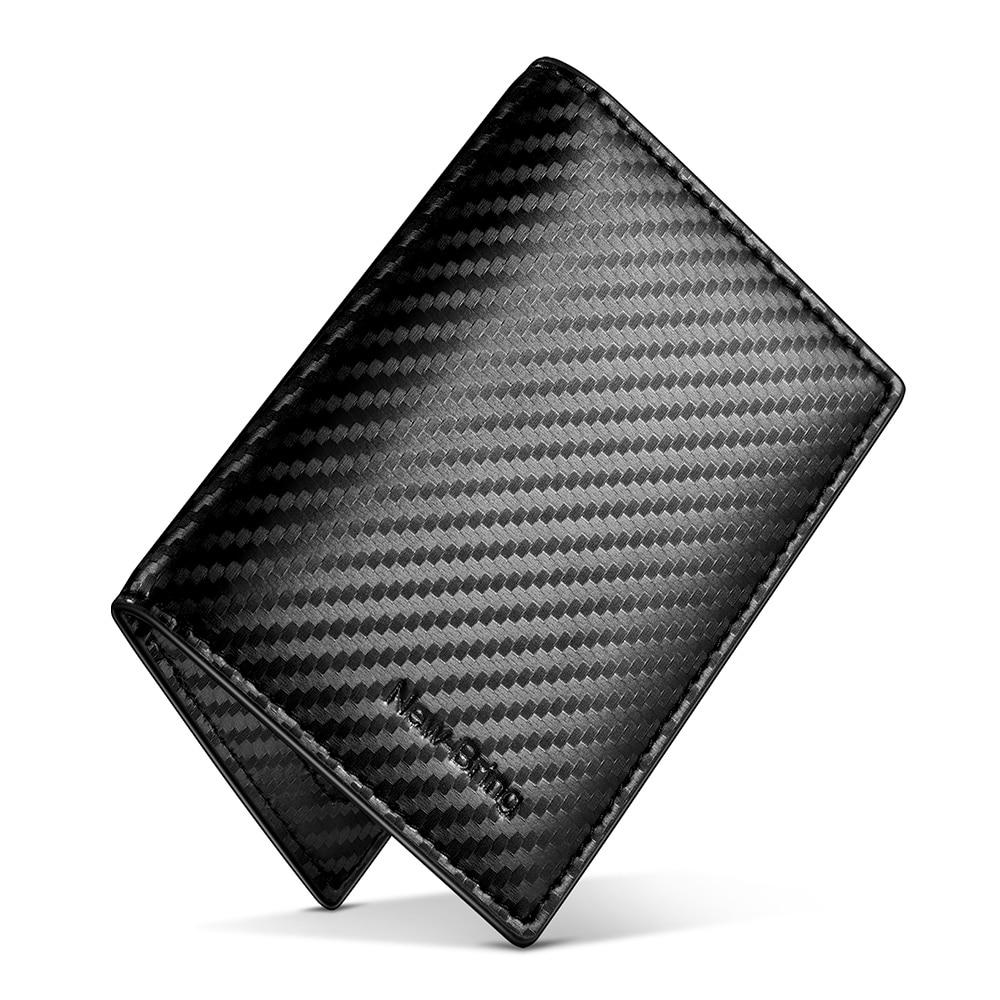 NewBring Carbon Fiber-Look Wallet Card ID Holder Purse Black For Men