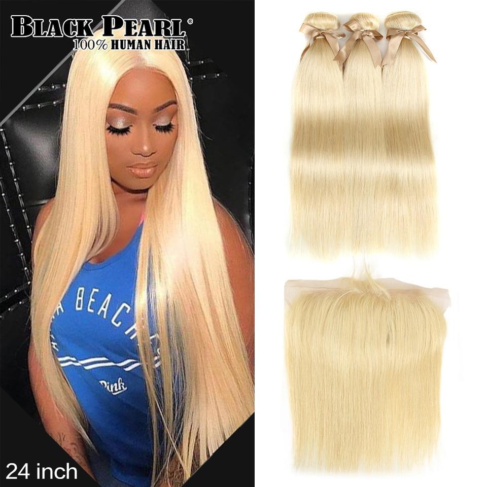 Черный жемчуг 613 блонд пряди с фронтальной прямой пряди волос Remy блонд бразильские волосы плетение 2/3 пряди с фронтальной