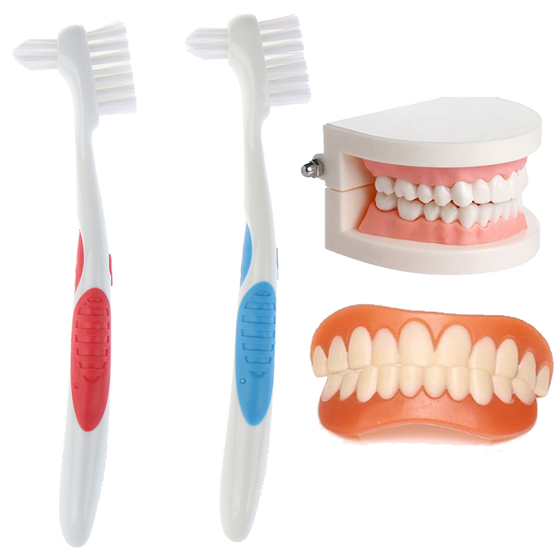 1pcs False Teeth Brushes Soft Dual Heads False Teeth Brushes Denture Dedicated Toothbrush Cleaning Tool image
