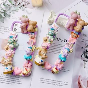 3D DIY case for iPhone 11 pro max handmade creamy shell ip xsmax cute bear phone cover ip6/6s 7/8 plus cartoon girl gift X/XS XR