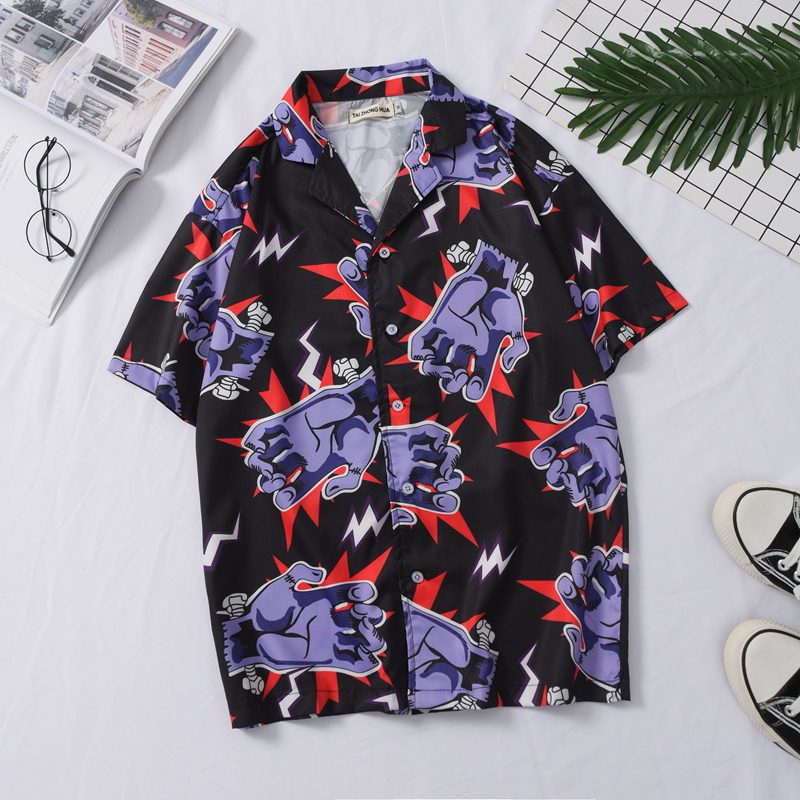 OSCN7 Casual Frankenstein Printed Short Sleeve Shirt Men Street 2020 Hawaii Beach Oversize Women Fashion Shirts For Men 443