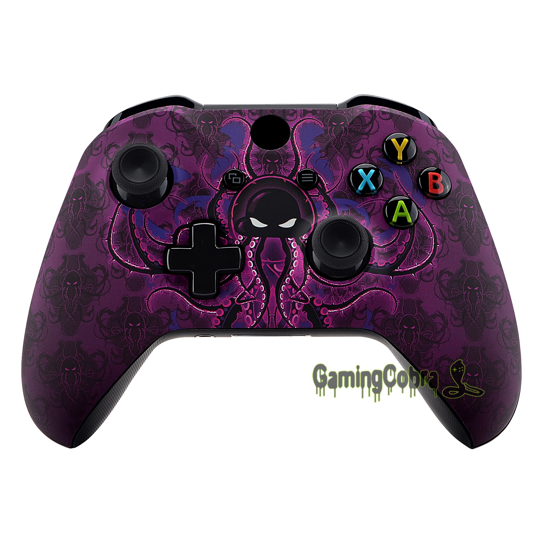 Purple Octopus Patterned Faceplate Front Housing Shell Case Replacement Part For Xbox One X & One S Controller (Model 1708)