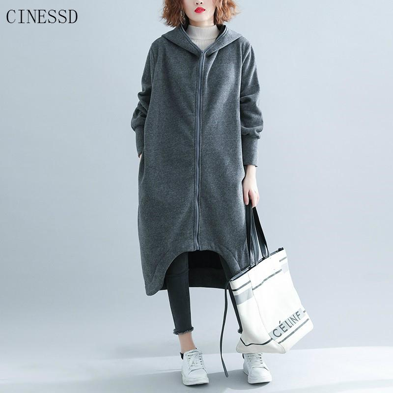Plus Size Long Hoodie Dress Cotton Oversized Autumn Winter Casual Loose Hoodies Sweatshirt Women Clothes 2019 Hoody Streetwear