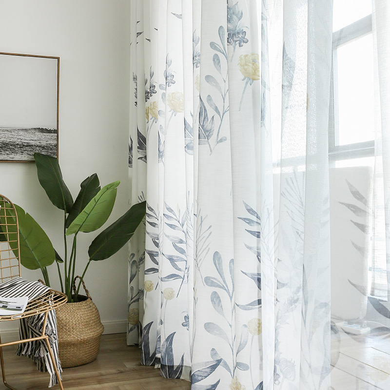 Pastoral American Simple Modern Printing Shading Curtains For Living Dining Room Bedroom.
