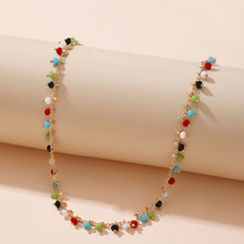 Tocona Colorful Bead Choker Necklace for Women Charming Gold Color Star Clavicle Chain Handmade Jewelry Accessories 15667