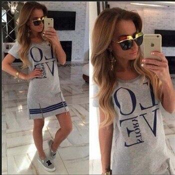 Mini Casual Printed about Tops Cotton Details Long Summer Love Dress Blouse Womens BOHO Ladies Lette