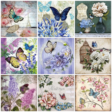 HUACAN 5D DIY Diamond Painting Full Square Drill Butterfly Embroidery Animals Picture Of Rhinestone Mosaic