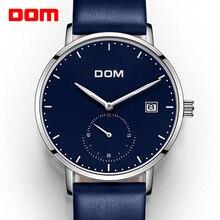 Dom marca azul cor de luxo relógio homem negócios à prova dwaterproof água única moda casual quartzo masculino vestido relógios relogio M 307