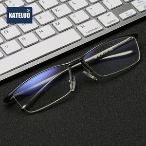 Image 2 - KATELUO 2020 alüminyum bilgisayar gözlük Anti mavi ışık yorgunluk radyasyon dayanıklı erkek gözlük optik gözlük çerçevesi 130