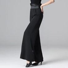Новые черные брюки для бальных танцев женские Танго вальс танцевальные