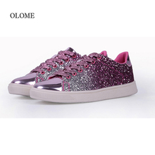 2019 Spring Autumn New Sneakers Women PU Leather Women Casual Shoes Lace-up Rhinestone Flat Shoes Fashion Bling Vulcanize Shoes men s vulcanize shoes lace up fashion men casual shoes spring autumn flat casual shoes male sneakers leather shoes anti skid new