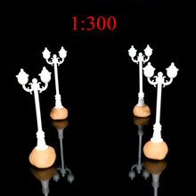 Railway Scenery Layout 1:300 Unpainted Plastic Double Heads Scale Model Street Light For HO Diorama Making