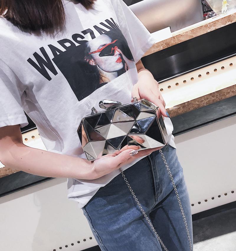 Hexagon Women Handbags Metal High Quality Clutches Fashion Geometric Mini Party Black Evening Purse Silver Bags Gold Box Clutch (14)