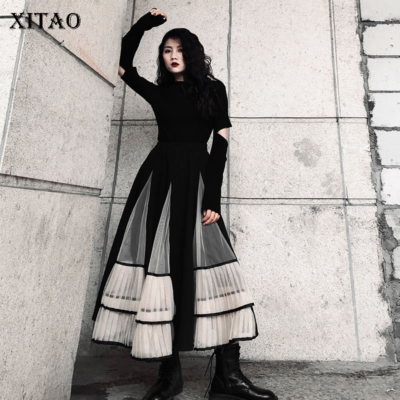 XITAO Vintage Hit Color Mesh Skirt Fashion New 2019 Winter Patchwork Patchwork Elastic Waist Minority Casual Skirt DMY1795
