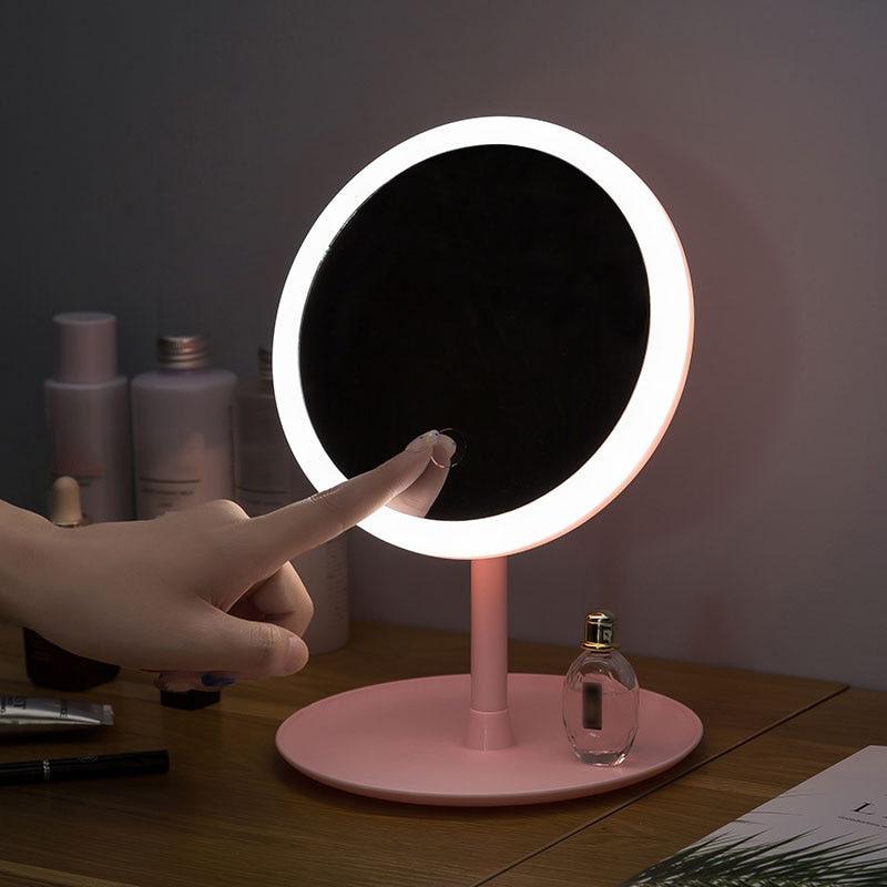 Miroir de maquillage à Led M007 contrôle tactile intelligent éclairé maquillage vanité debout bureau anneau lumière miroir Led vanité miroir USB utilisation|Miroirs de maquillage|   - AliExpress