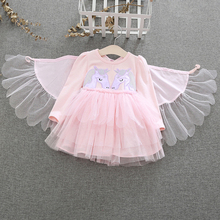 AmzBarley Toddler girls Unicorn Dress Long Sleeve Cotton Lace tutu wing cloak Birthday Party outfits Autumn Winter clothes