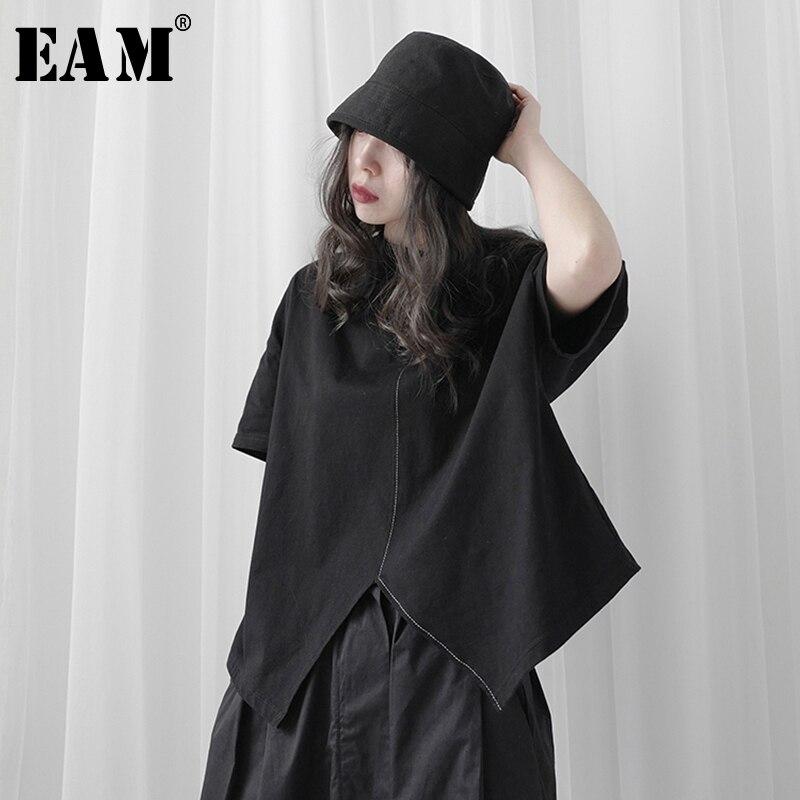 [Eam] feminino preto breve ventilação divisão comum tamanho grande camiseta novo em torno do pescoço manga longa moda maré primavera verão 2020 1t121