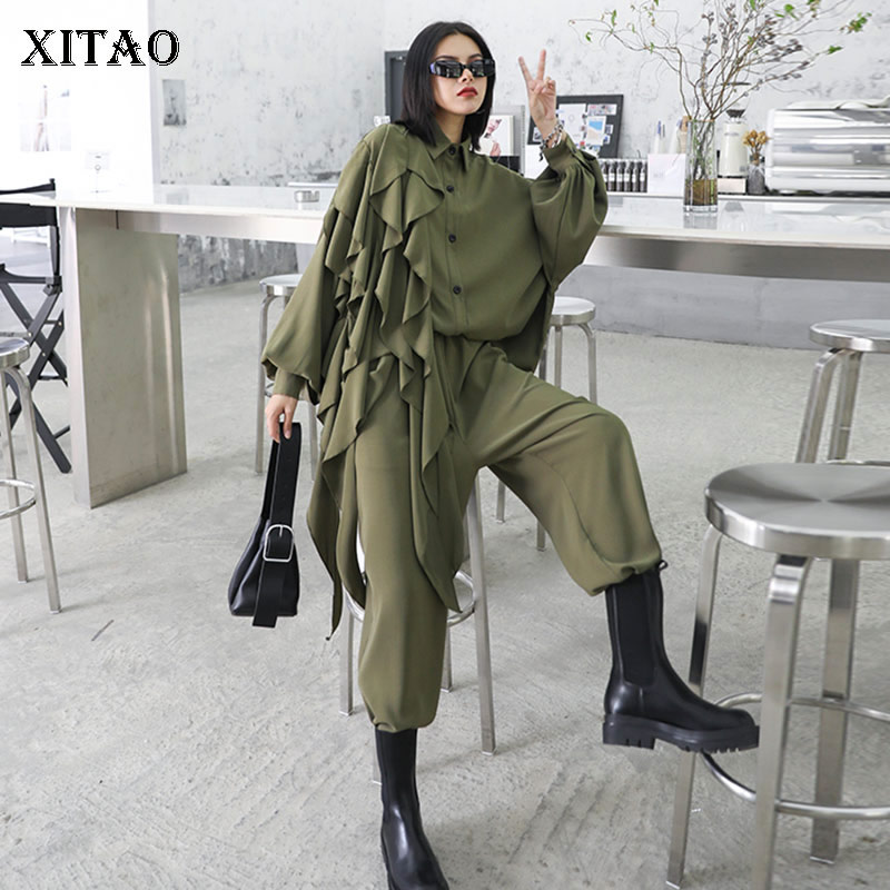 XITAO Vintage Patchwork Ruffles Women's Sets 2020 Autumn Tide Fashion New Turn Down Collar Lantern Sleeve Hongkong Style ZP2802