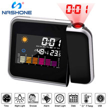 Nashone Projection Digital Temperature Humidity Alarm Clock Sleep Timer,Thermometer Humidity,Date LED Display Weather Station wsk303 frame size 96 96mm led digital display temperature and humidity controller