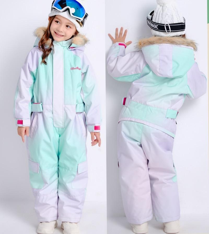 19 лыжных костюмов bluemagic для детей, водонепроницаемый комбинезон для прогулок на открытом воздухе для девочек и мальчиков, куртка для сноуборда Водонепроницаемый Лыжный комбинезон-30 градусов - Цвет: Aurora