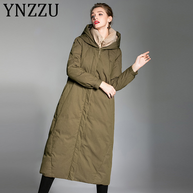 YNZZU High Quality Elegant Women's Down Jacket 2019 Winter White Duck Down Coat Thicken Warm Hooded Female Snow Overcoat A1251