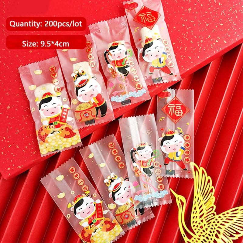 AQ 200 teile/los Matt Candy Tasche Nougat Tasche Festliche Atmosphäre Nette Kuh Festival Festival Decor 4In1 Chinesischen Segen Goodie Bags