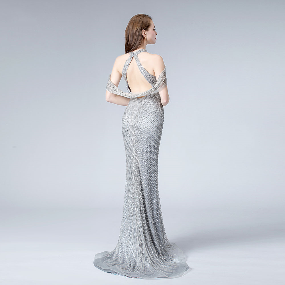 Silver Sexy Mermaid Evening Dresses Sleeveless Beading Illusion Luxury Evening Gowns 2019 Romantic Prom Dress in Evening Dresses from Weddings Events
