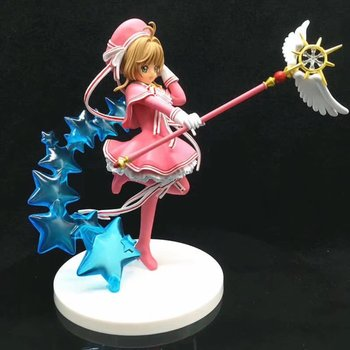 Anime Card Captor Sakura KINIMOTO SAKURA Clear card Ver PVC Action Figure Model Long Wings Stars Magic Staff Pink Dress Toy 19cm
