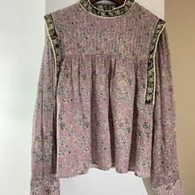 Pink Shirt Retro Long-Sleeve Floral Summer Spring Loose And New