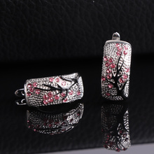 цена на Fashion women crystal Cherry Blossom Stud Earrings classic Pink red green Flower Branches earring Jewelry for Mom Gift