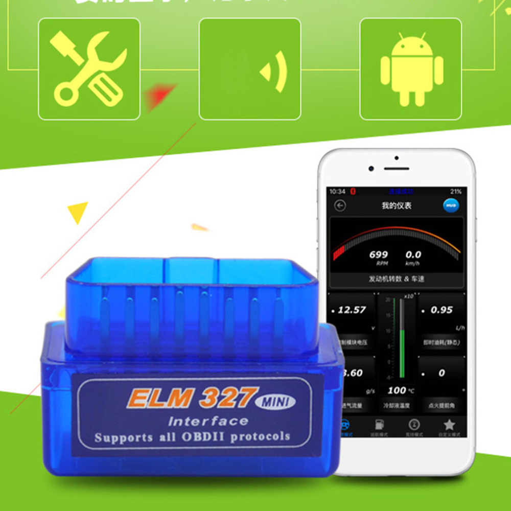 Portable ELM327 V2.1 OBD2 II Bluetooth Diagnostic Scanner Tool Car Auto Interface Scanner Blue Premium ABS Diagnostic Tool