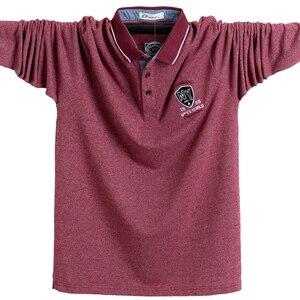 Image 1 - חדש 2020 גברים פולו חולצת כותנה סתיו חורף נוח Slim fit חולצה ארוך גברים פולו חולצות פנאי חולצות זכר 5XL בתוספת גודל