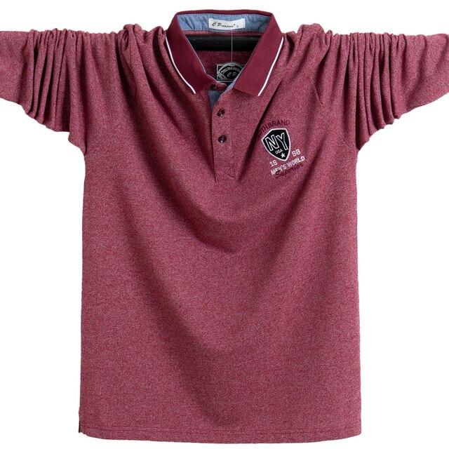 חדש 2020 גברים פולו חולצת כותנה סתיו חורף נוח Slim fit חולצה ארוך גברים פולו חולצות פנאי חולצות זכר 5XL בתוספת גודל