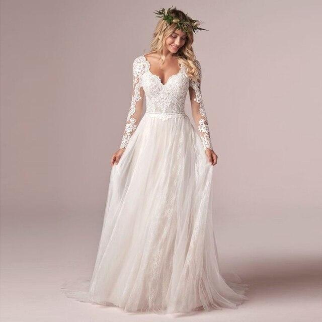 A Line Long Sleeve Bridal Dresses Wedding Dress 2020 Tulle Lace Long Ivory Vestido De Novia Open Back свадебное платье Plus Size 2