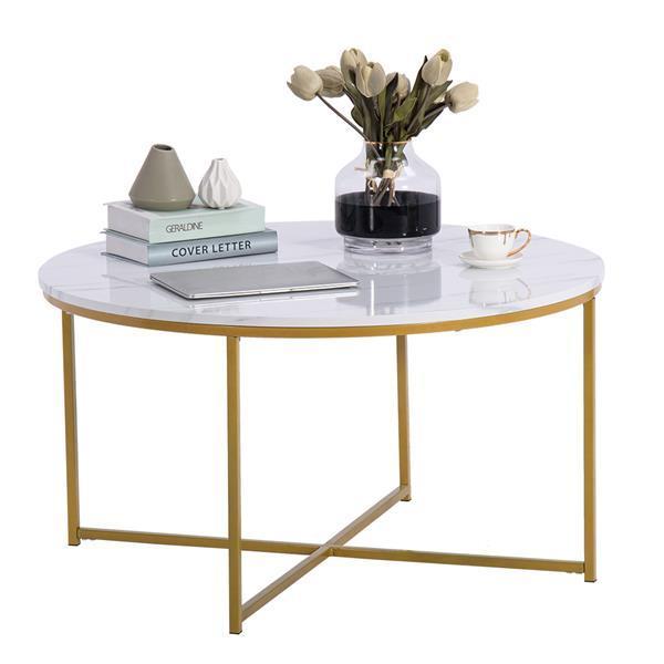 Marble Round Coffee Table 90cm * 90cm * 48.5cm White 6